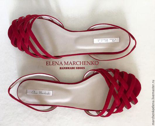 Обувь ручной работы. Ярмарка Мастеров - ручная работа. Купить Босоножки. Handmade. Ярко-красный, сандалии ручной работы