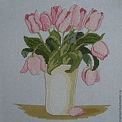 Картины и панно ручной работы. Ярмарка Мастеров - ручная работа Вышивка крестом Тюльпаны. Handmade.