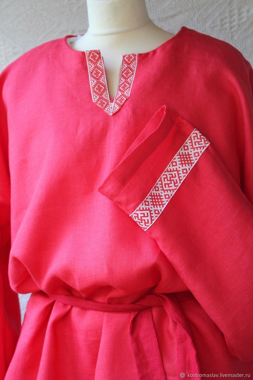 рубашка льняная красная для мужчин в славянском стиле рубашка нарядная свадьба в русском стиле этническая одежда славянский праздник рубашка в народном стиле