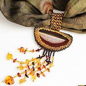 Украшения handmade. Livemaster - original item Set accessories the reflection of the sun a stole and pendant. Handmade.