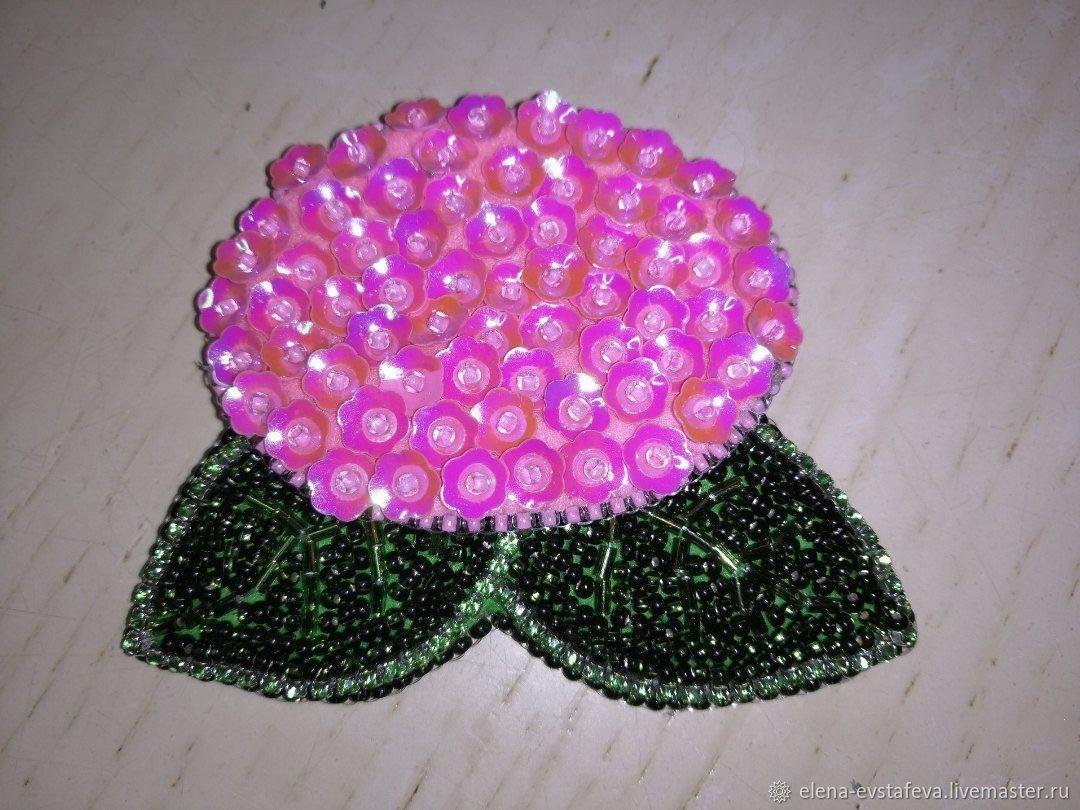 Гортензия розовая, Брошь-булавка, Санкт-Петербург,  Фото №1