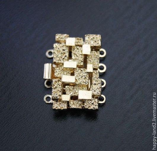 """Для украшений ручной работы. Ярмарка Мастеров - ручная работа. Купить Замочек ювелирный """"кубики"""" на 4 нити, оба покрытия. Handmade."""