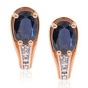 Украшения handmade. Livemaster - original item 585 gold earrings with sapphires and diamonds. Handmade.
