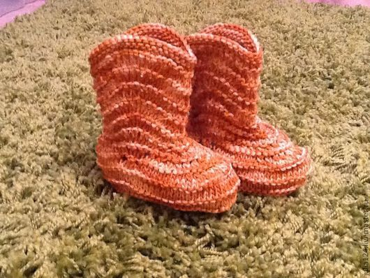 Детская обувь ручной работы. Ярмарка Мастеров - ручная работа. Купить Сапожки. Handmade. Орнамент, сапожки вязанные