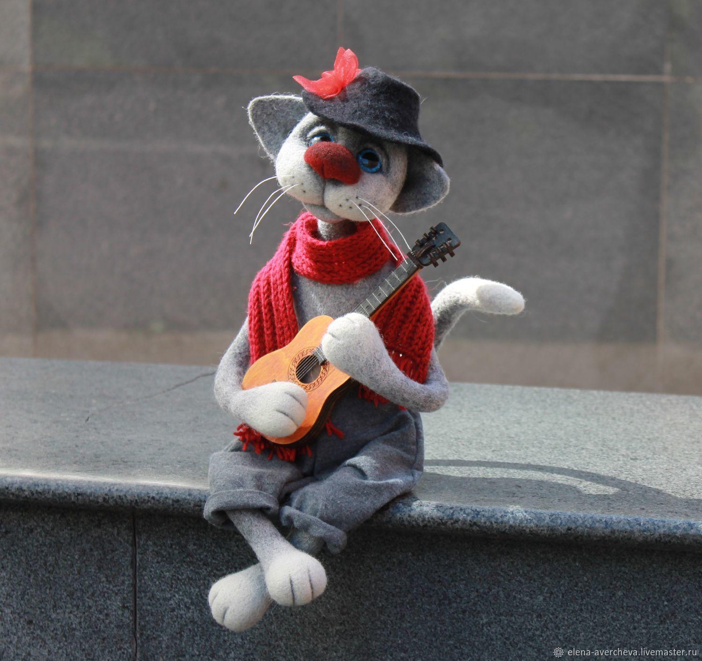 Кот Федот с гитарой (Питерские коты), Войлочная игрушка, Санкт-Петербург,  Фото №1