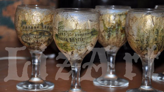 Бокалы, стаканы ручной работы. Ярмарка Мастеров - ручная работа. Купить Коллекция «Венецианские мотивы». Handmade. Декупаж, венеция