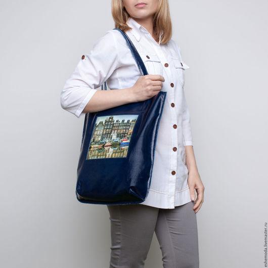 """Женские сумки ручной работы. Ярмарка Мастеров - ручная работа. Купить Сумка-пакет на кнопке """"Амстердам 2"""". Handmade."""