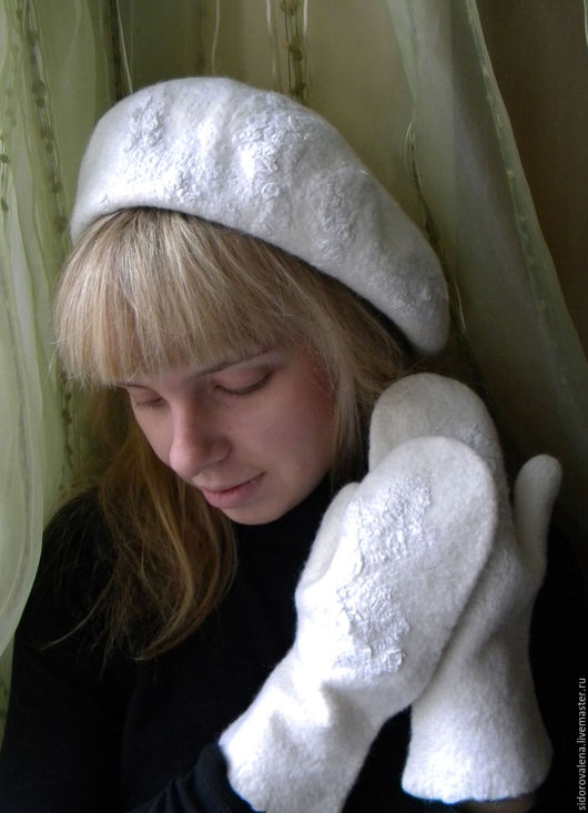 """Береты ручной работы. Ярмарка Мастеров - ручная работа. Купить Берет валяный """"Зимушка"""". Handmade. Белый, подарок женщине, зима"""