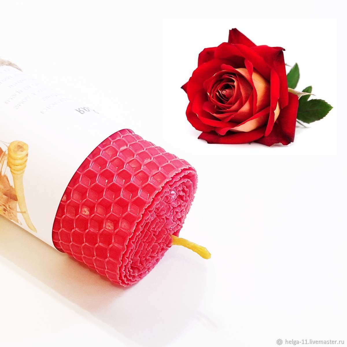 Honey Candle-Red with a rose 13h4,7,  cm, Candles, St. Petersburg,  Фото №1