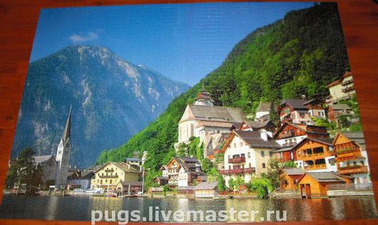 Пейзаж ручной работы. Ярмарка Мастеров - ручная работа. Купить Австрия. Handmade. Пазл, Австрия, синий, клей