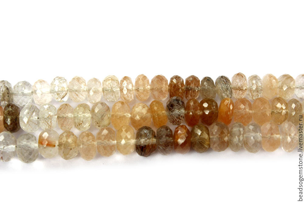 Multi Rutilated Quartz Faceted Roundel (Quality AA) / RUT-001, Beads1, Moscow,  Фото №1