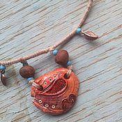 Украшения ручной работы. Ярмарка Мастеров - ручная работа Листья в ручье, подвеска в этностиле, имитация керамики из полимерки. Handmade.