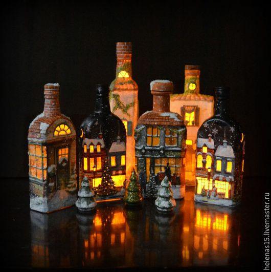 Освещение ручной работы. Ярмарка Мастеров - ручная работа. Купить Рождественские домики Бутылки-светильники. Handmade. Черный, новый год 2016