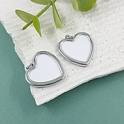 Материалы для творчества handmade. Livemaster - original item Pendant Heart 20 mm rhodium plated, enamel (5647-R). Handmade.