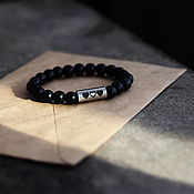 Украшения handmade. Livemaster - original item Shungite and medical steel heart bracelet. Handmade.