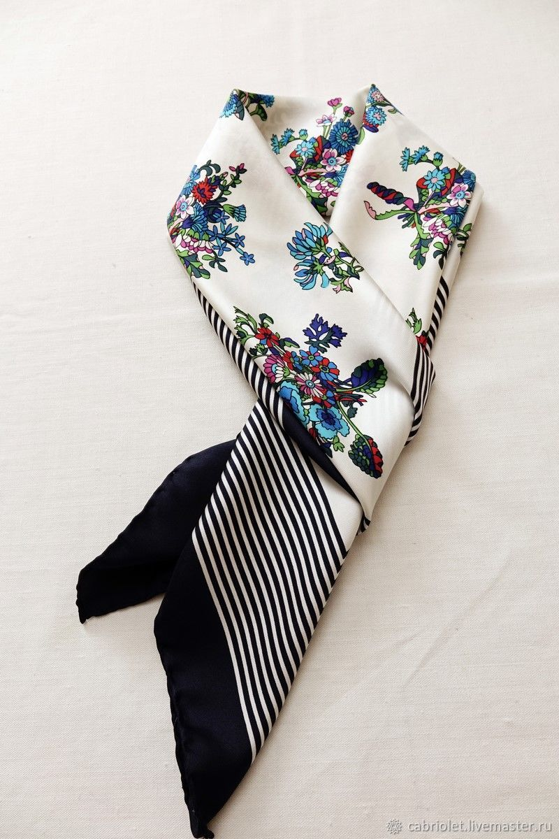 Винтаж: 70е Deluxe Шелковый платок Цветы и Море классика, Аксессуары винтажные, Санкт-Петербург,  Фото №1