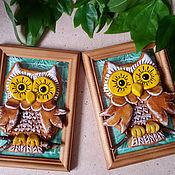 Картины и панно ручной работы. Ярмарка Мастеров - ручная работа Сова в рамке. Handmade.