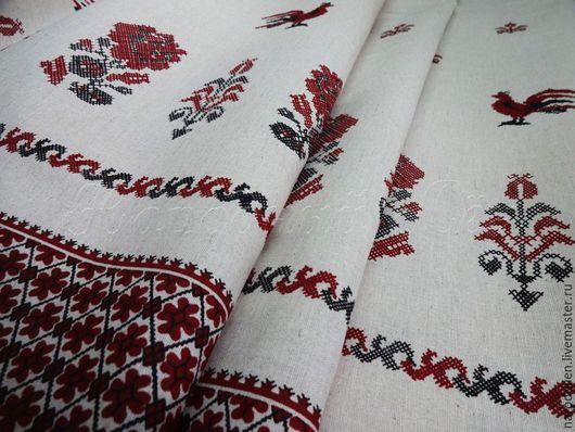 """Шитье ручной работы. Ярмарка Мастеров - ручная работа. Купить Ткань льняная """"петушки"""". Handmade. Разноцветный, русский стиль"""