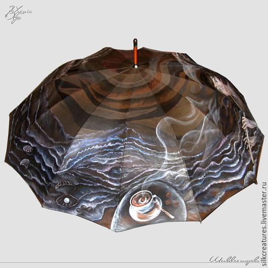 """Зонты ручной работы. Ярмарка Мастеров - ручная работа. Купить """"Кофейный сон""""  зонт-трость с рисунком ручная роспись коричневый. Handmade."""