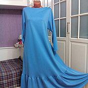 Одежда ручной работы. Ярмарка Мастеров - ручная работа Трикотажное платье макси с воланом Небесно-голубое. Handmade.