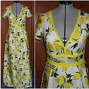 """Одежда ручной работы. Ярмарка Мастеров - ручная работа Платье """"Лимон"""" из сатина стрейч. Handmade."""