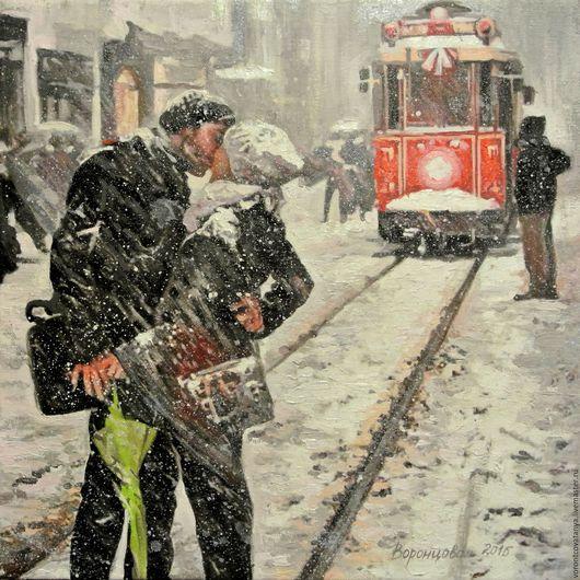 """Город ручной работы. Ярмарка Мастеров - ручная работа. Купить """"Под снегом"""". Handmade. Чёрно-белый, поцелуй, город, зима"""