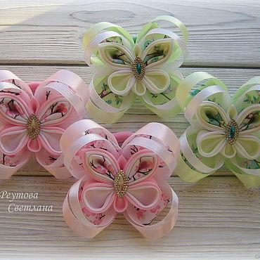 """Работы для детей, ручной работы. Ярмарка Мастеров - ручная работа Резинки для волос """"Бабочки"""" в технике канзаши. Handmade."""
