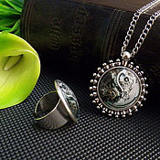 """Украшения ручной работы. Ярмарка Мастеров - ручная работа """" Стимпанк """" набор кольцо, кулон подвеска латунь. Handmade."""