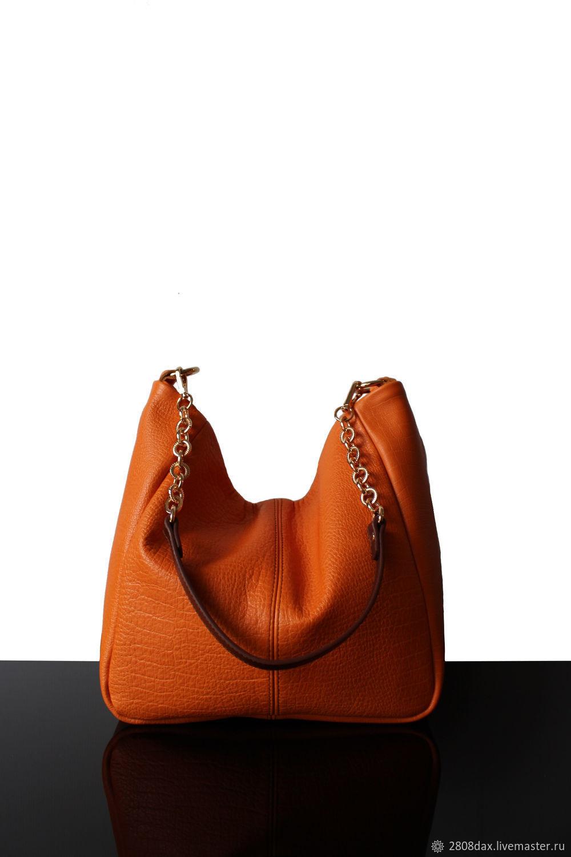 edc67a670a Leather shoulder bag orange