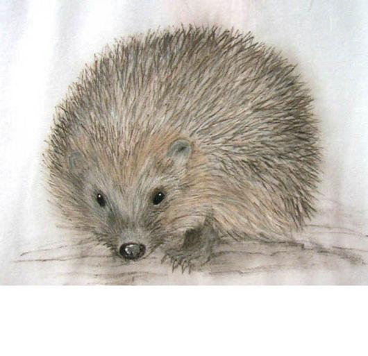 T-Shirts & Singlets handmade. Livemaster - handmade. Buy T-shirt with Hedgehogs.Hedgehog, paint