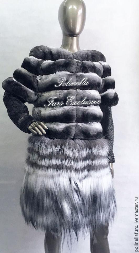 Верхняя одежда ручной работы. Ярмарка Мастеров - ручная работа. Купить Жакет трансформер из экстра темной шиншиллы.. Handmade. Шуба