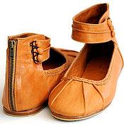 Обувь ручной работы. Ярмарка Мастеров - ручная работа Muse. Балетки кожаные на ремешке для дома, офиса, прогулок. Handmade.