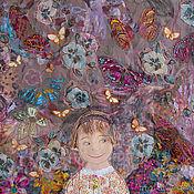 Картины и панно ручной работы. Ярмарка Мастеров - ручная работа Манюня и бабочки). Handmade.