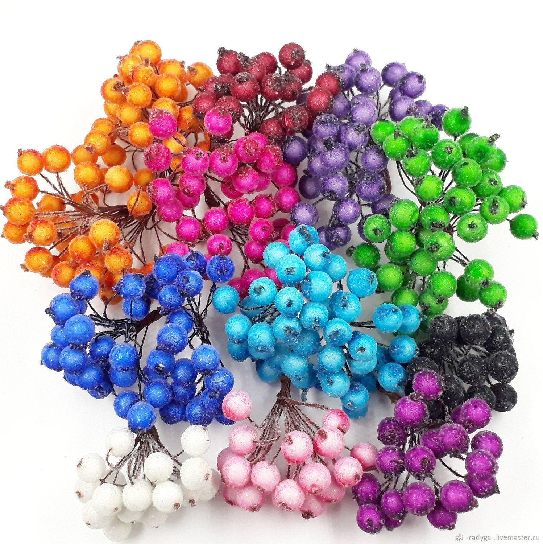 Ягодки в сахаре Сахарные ягоды 12 цветов, Декор для флористики, Истра,  Фото №1