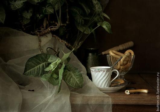 Фотокартины ручной работы. Ярмарка Мастеров - ручная работа. Купить Натюрморт Кофе с сушками. Handmade. Зеленый, белый, коричневый, Баранки