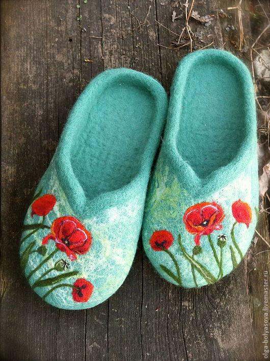 """Обувь ручной работы. Ярмарка Мастеров - ручная работа. Купить Топотули для бабули """"Маки"""". Handmade. Мятный, маки, подарок женщине"""