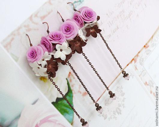 """Серьги ручной работы. Ярмарка Мастеров - ручная работа. Купить Серьги """"Винтаж"""". Handmade. Розы, винтажный стиль, розовый, volnami"""