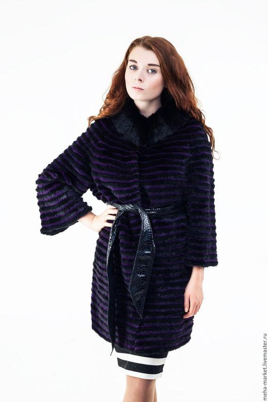 Меховое пальто комбинированное F