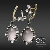 Украшения handmade. Livemaster - original item Gold earrings with pink quartz and diamonds. 585.. Handmade.