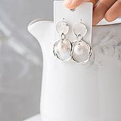 Серьги-кольца ручной работы. Ярмарка Мастеров - ручная работа Серьги-кольца с жемчугом барокко серебро. Handmade.