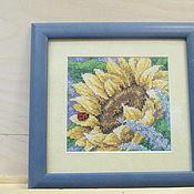 Картины и панно ручной работы. Ярмарка Мастеров - ручная работа Вышивка крестиком Подсолнух. Оформленна в багет. Handmade.