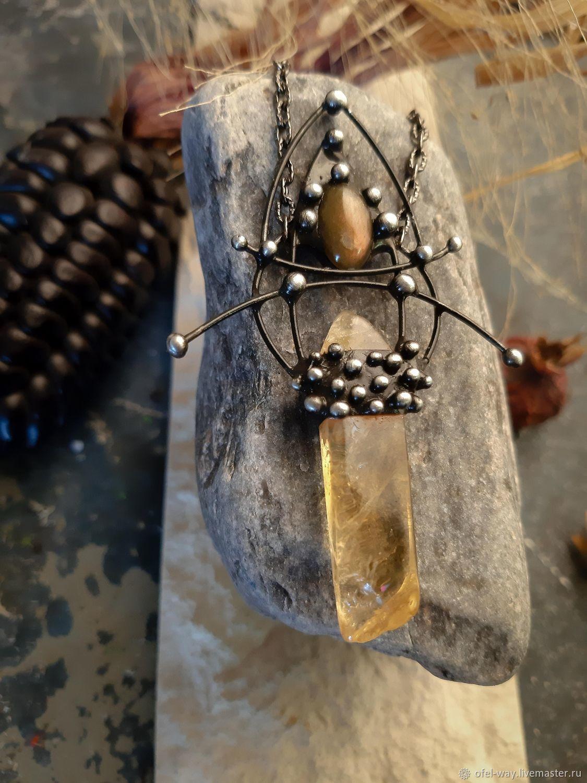 Кулон из кристалла цитрина и солнечного лабрадора, Подвески, Санкт-Петербург, Фото №1