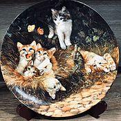 Предметы интерьера винтажные ручной работы. Ярмарка Мастеров - ручная работа Фарфоровая настенная тарелка котята Мотив 5 Seltmann Германия. Handmade.
