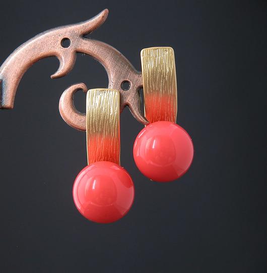 """Серьги ручной работы. Ярмарка Мастеров - ручная работа. Купить Серьги """" Рябинушка"""". Handmade. Длинные серьги, золотой"""