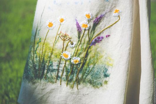 Большие размеры ручной работы. Ярмарка Мастеров - ручная работа. Купить Платье Ромашковое Лето лен валяние, ручная вышивка. Handmade.