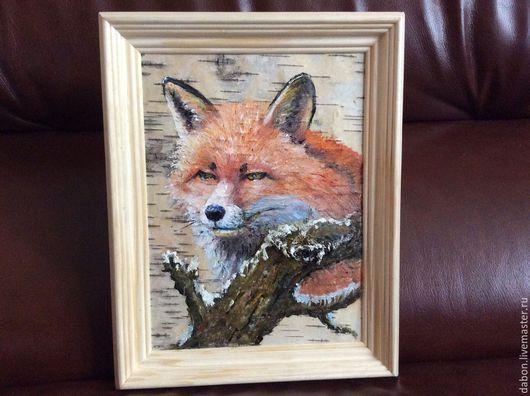 Животные ручной работы. Ярмарка Мастеров - ручная работа. Купить Картина на бересте Лиса. Handmade. Рыжий, лисица, зверь