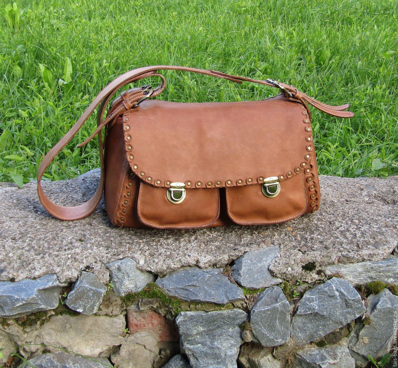 Women's leather shoulder bag ESMERALDA walnut color, Classic Bag, Izhevsk,  Фото №1