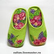 """Обувь ручной работы. Ярмарка Мастеров - ручная работа """"Сны о лете..."""", войлочные домашние тапочки. Handmade."""