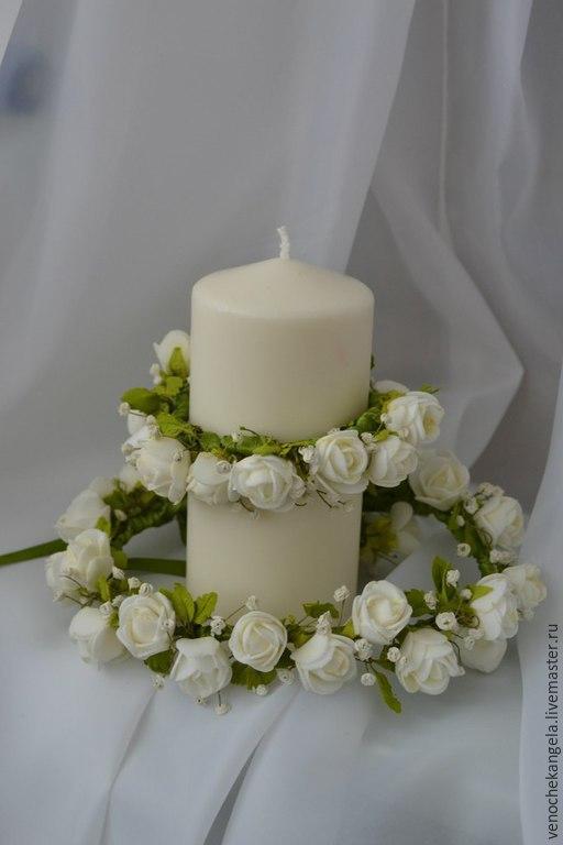Диадемы, обручи ручной работы. Ярмарка Мастеров - ручная работа. Купить Веночек и браслет из белых цветочков с нежной зеленью. Handmade.