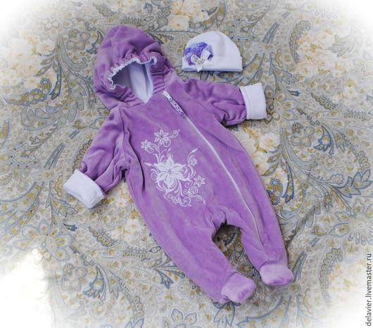 """Одежда ручной работы. Ярмарка Мастеров - ручная работа. Купить Утепленный комбинезон для новорожденных """"Амели"""". Handmade. Сиреневый, на выписку из роддома"""
